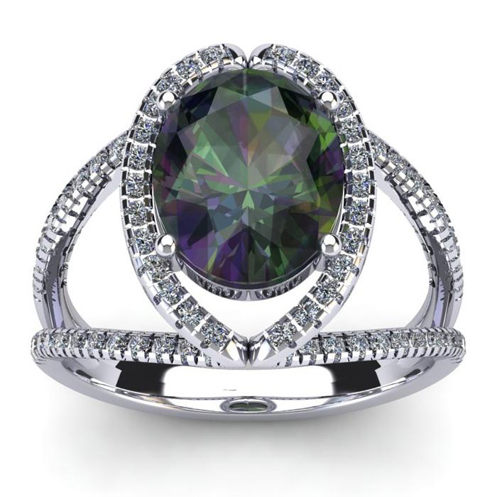 3 Carat Oval Shape Mystic Topaz and Halo Diamond Ring In 14 Karat White Gold 21022