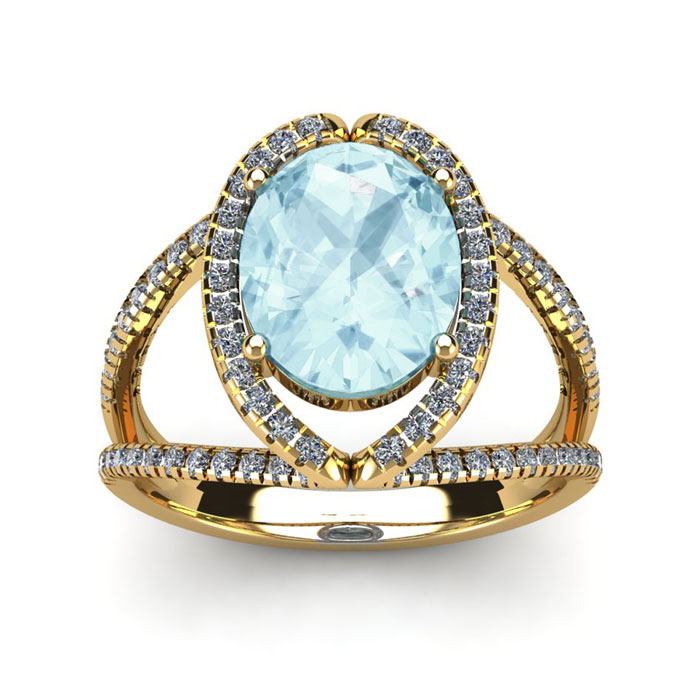 2 3/4 Carat Oval Shape Aquamarine and Halo Diamond Ring In 14 Karat Yellow G..