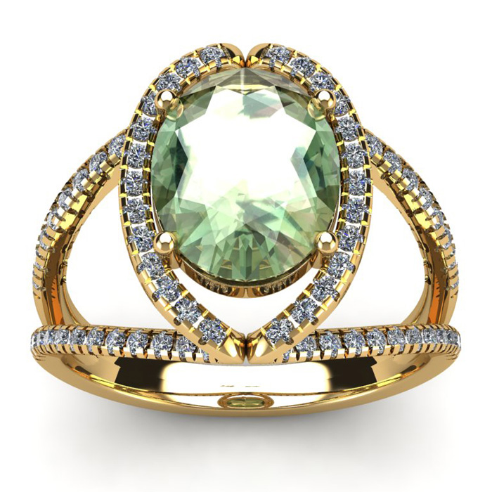 3 Carat Oval Shape Green Amethyst and Halo Diamond Ring In 14 Karat Yellow G..