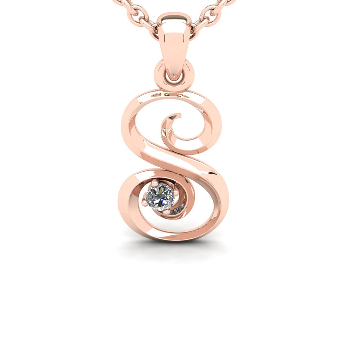 Diamond Accent S Swirly Initial Necklace In 14k Rose Gold With Free 18 Inch Cable Chain