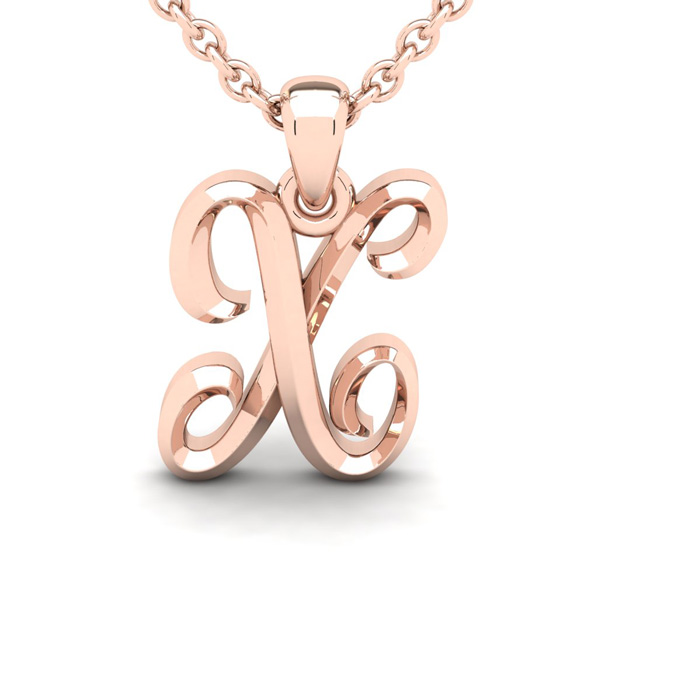 X Swirly Initial Necklace In Heavy 14K Rose Gold With Free 18 Inch Cable Chain
