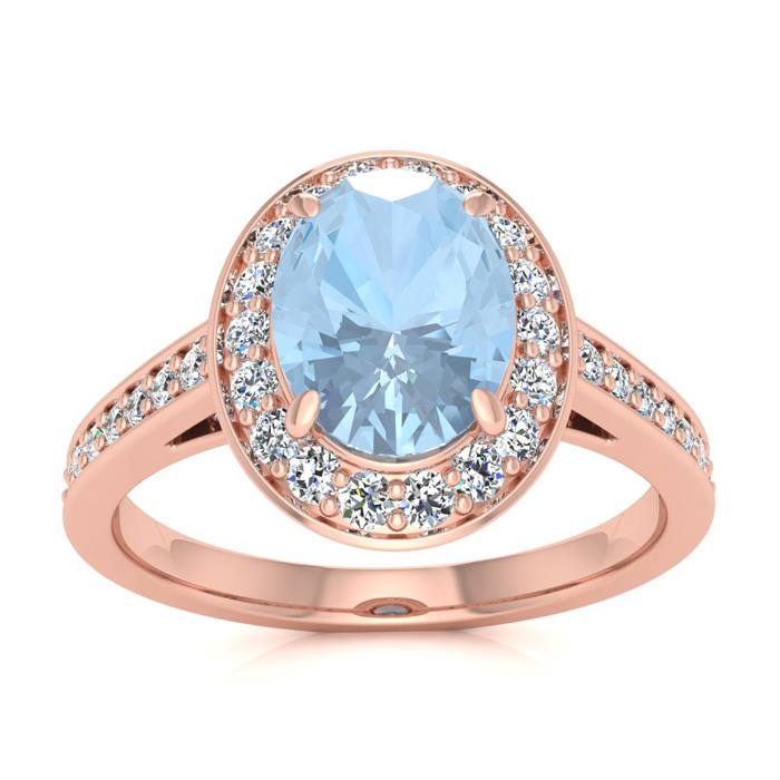 1 1/2 Carat Oval Shape Aquamarine and Halo Diamond Ring In 14 Karat Rose Gold