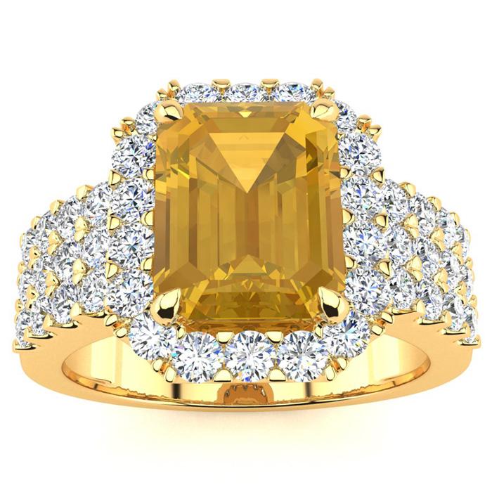 3 Carat Emerald Shape Citrine And Halo Diamond Ring In 14 Karat Yellow Gold