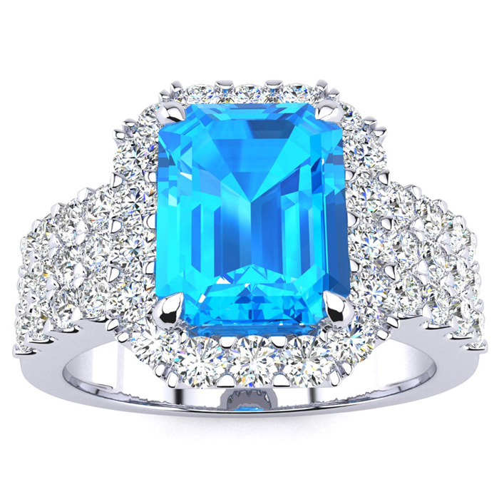 3 3/4 Carat Emerald Shape Blue Topaz And Halo Diamond Ring In 14 Karat White Gold