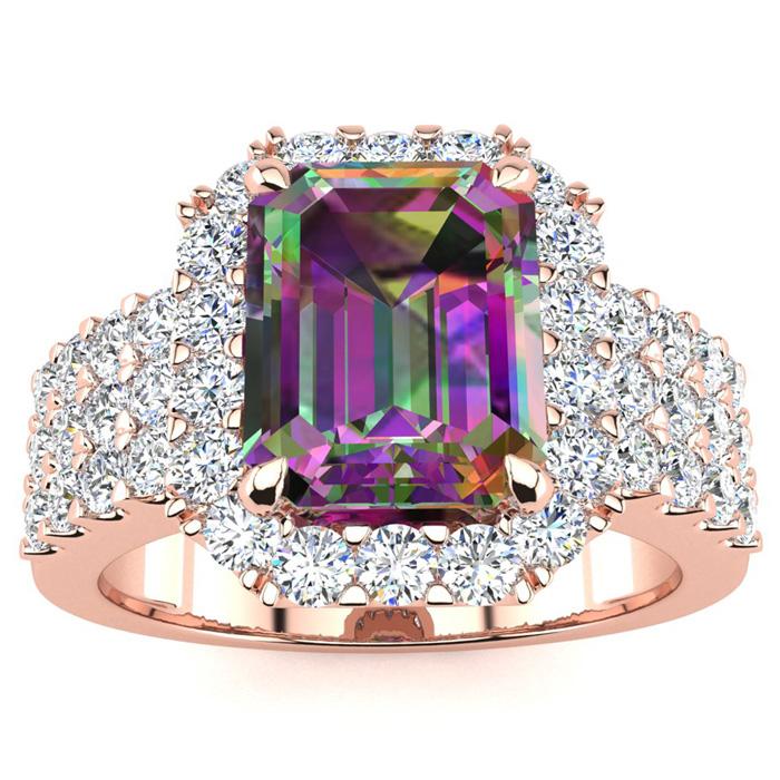 3 Carat Emerald Shape Mystic Topaz And Halo Diamond Ring In 14 Karat Rose Gold