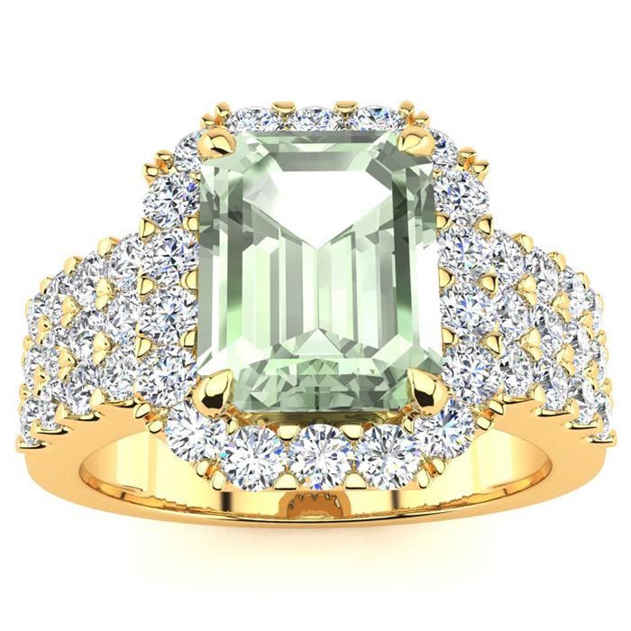 3 Carat Emerald Shape Green Amethyst And Halo Diamond Ring In 14 Karat Yellow Gold