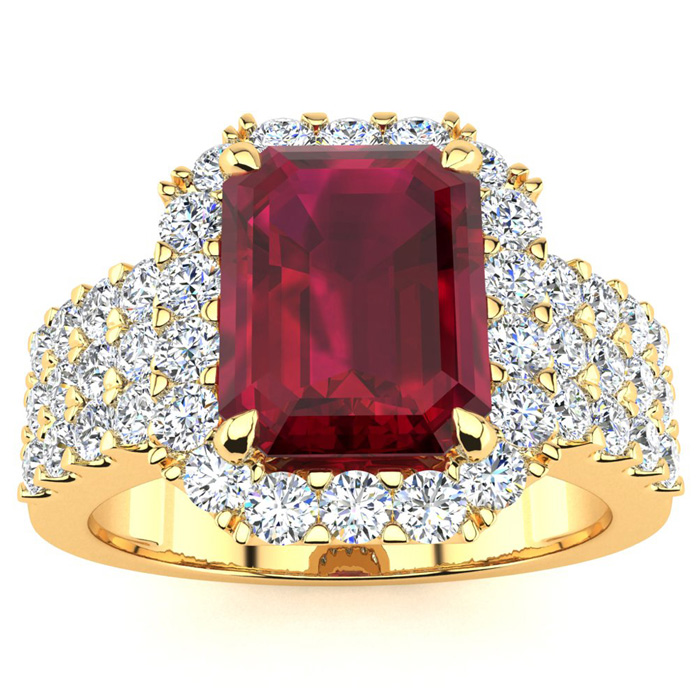 3 3/4 Carat Emerald Shape Ruby And Halo Diamond Ring In 14 Karat Yellow Gold