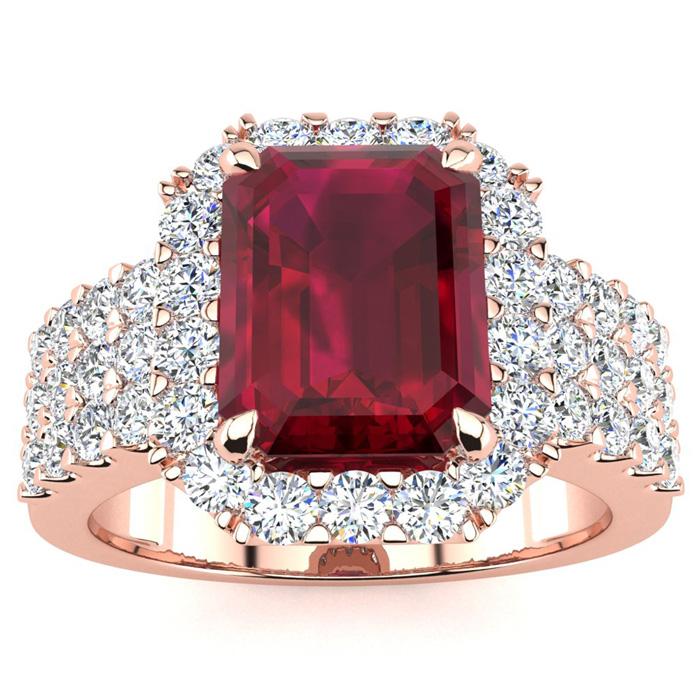 3 3/4 Carat Emerald Shape Ruby And Halo Diamond Ring In 14 Karat Rose Gold