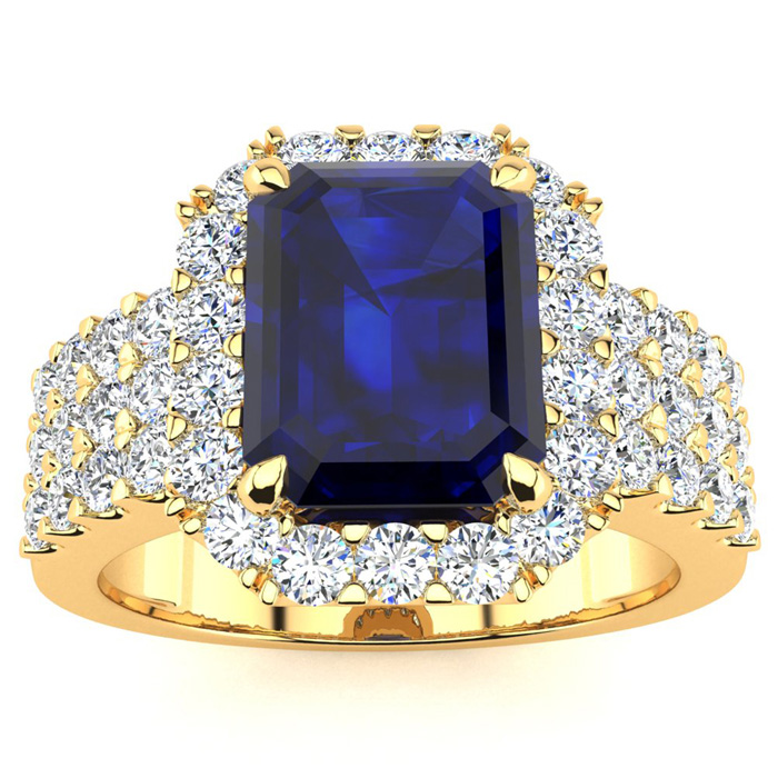 Image of 3 3/4 Carat Emerald Shape Sapphire and Halo Diamond Ring In 14 Karat Yellow Gold