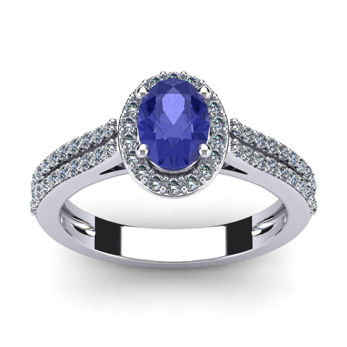 1 1/3 Carat Oval Shape Tanzanite and Halo Diamond Ring In 14 Karat White Gold