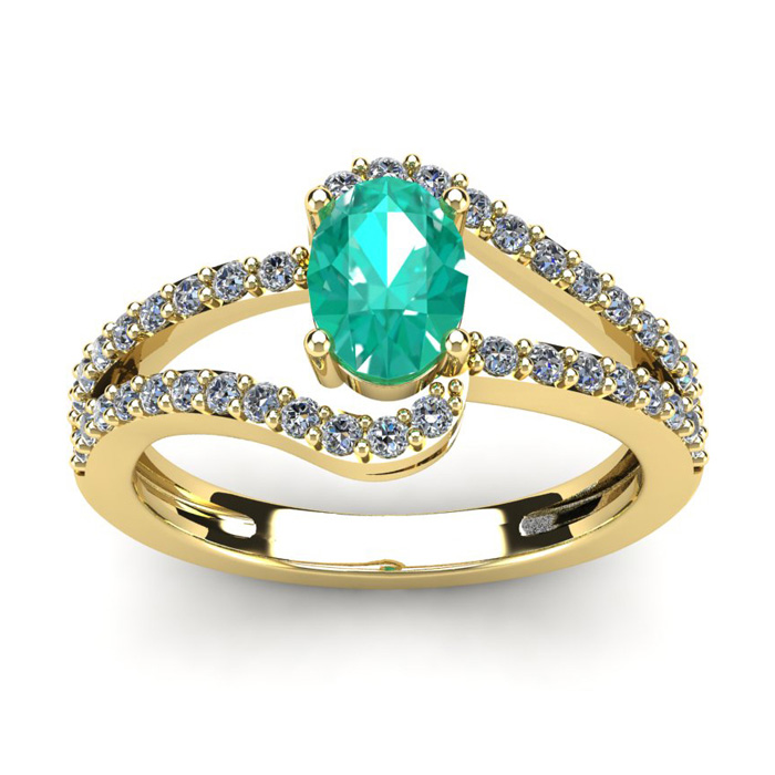 1 1/4 Carat Oval Shape Emerald and Fancy Diamond Ring In 14 Karat Yellow Gold