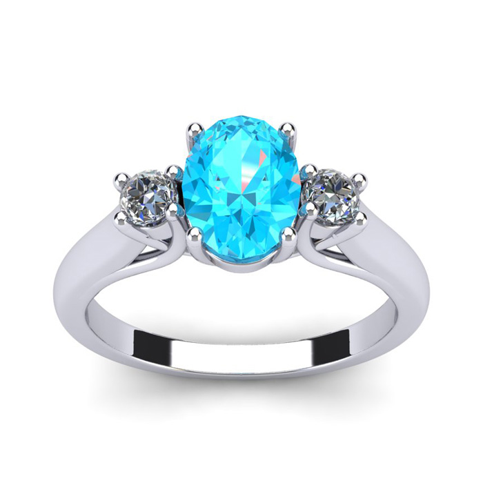 1/2 Carat Oval Shape Aquamarine and Two Diamond Ring In 14 Karat White Gold