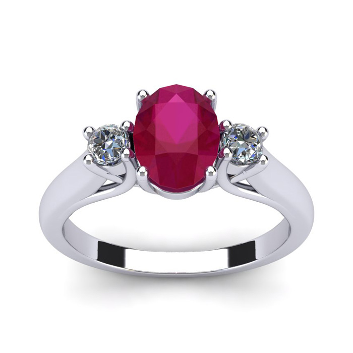 3/4 Carat Oval Shape Ruby And Two Diamond Ring In 14 Karat White Gold