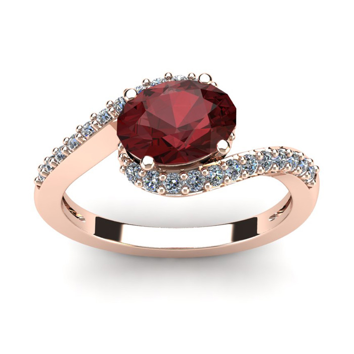 1 3/4 Carat Oval Shape Garnet And Halo Diamond Ring In 14 Karat Rose Gold