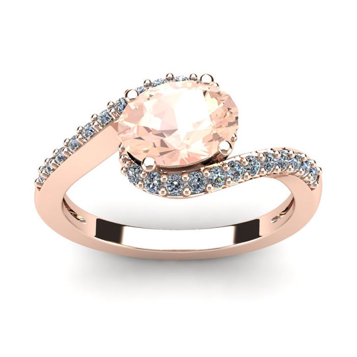 1 1/2 Carat Oval Shape Morganite and Halo Diamond Ring In 14 Karat Rose Gold thumbnail