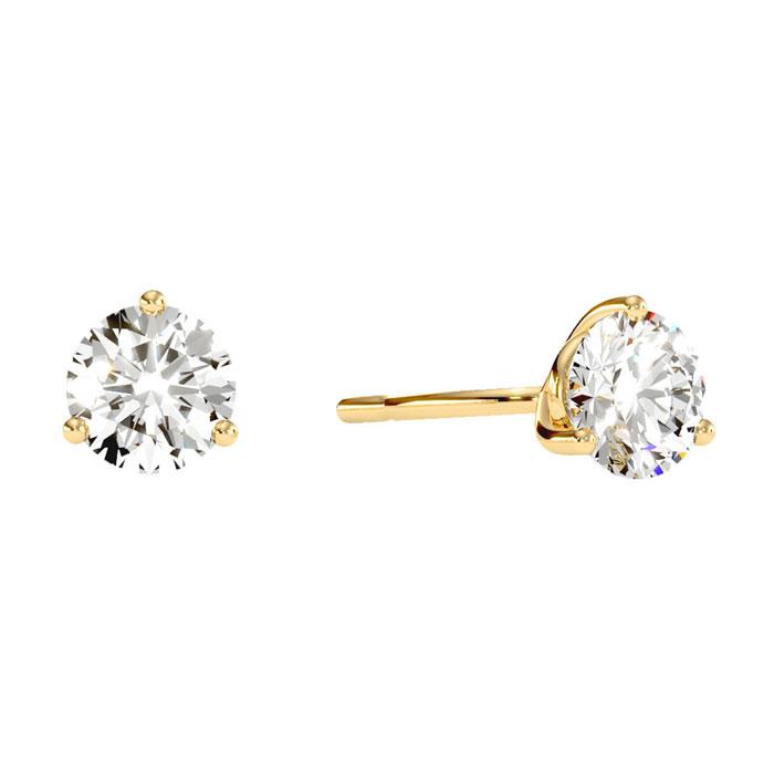 1 1/2 Carat Diamond Martini Stud Earrings In 14 Karat Yellow Gold 21733