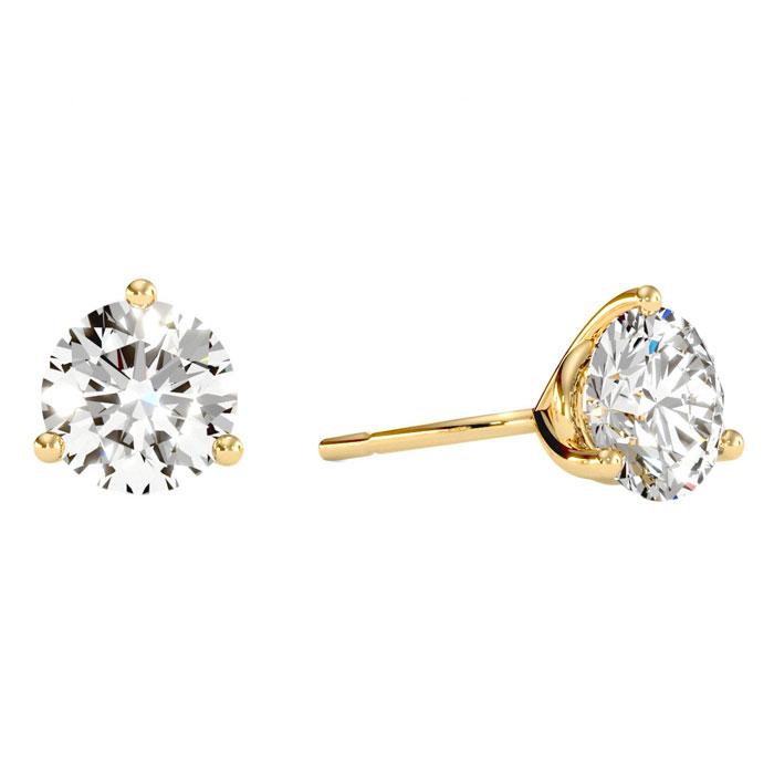 2 Carat Diamond Martini Stud Earrings In 14 Karat Yellow Gold 21735