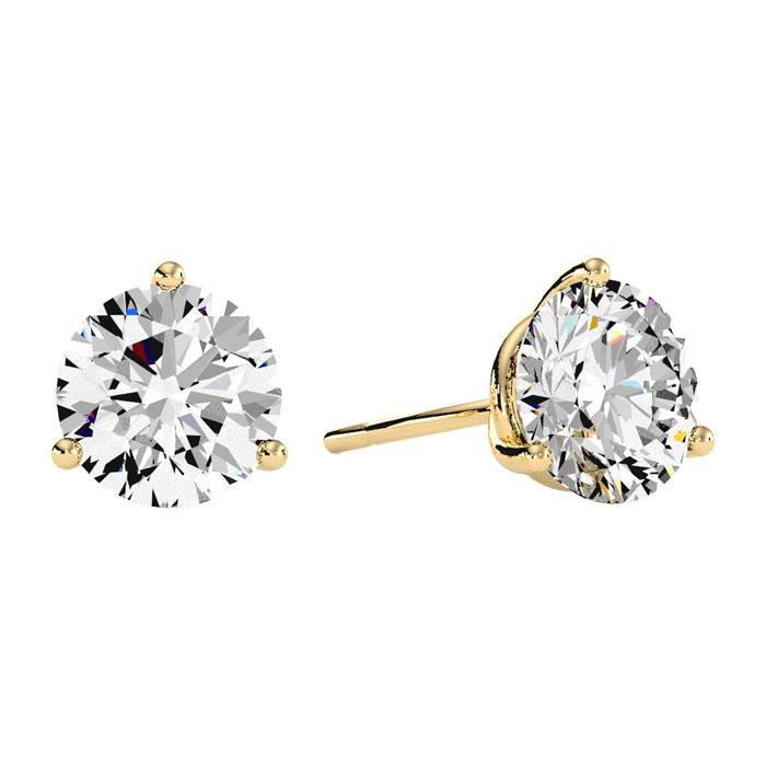 3 Carat Diamond Martini Stud Earrings In 14 Karat Yellow Gold 21737