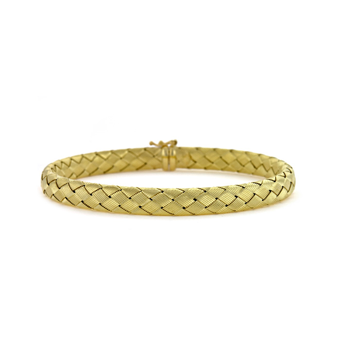 18 Karat Yellow Gold 6.5mm Basket-Weave Bracelet 21739