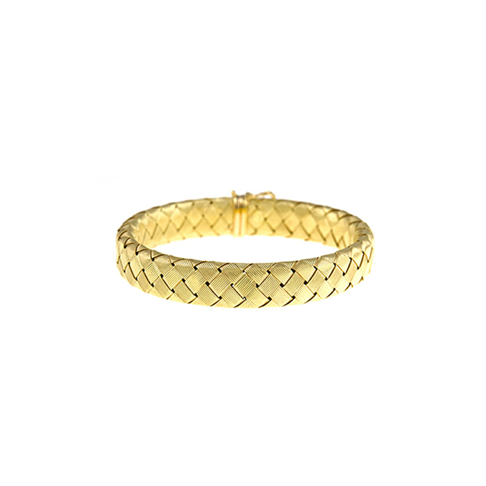 18 Karat Yellow Gold 11.2mm 7.5 inch Basket-Weave Bracelet