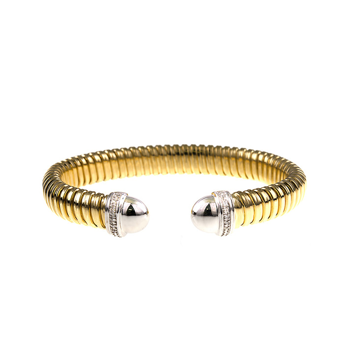 18 Karat Yellow & White Gold Ribbed Cuff with Diamonds 21741