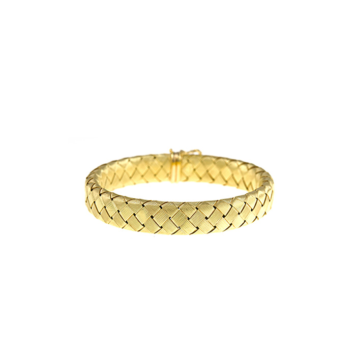 18 Karat Yellow Gold 11.2mm 8 inch Basket-Weave Bracelet