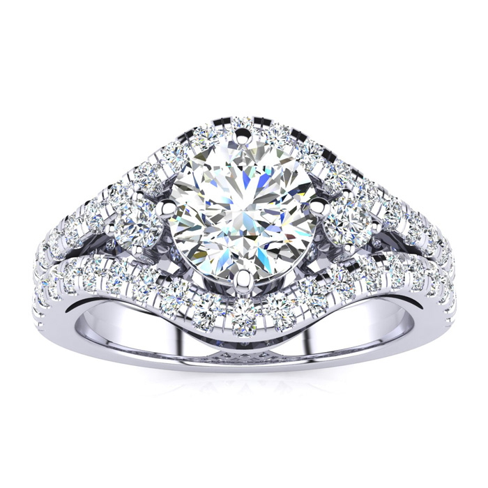 14K White Gold 2 Carat Fancy Diamond Engagement Ring, With 1.25 Carat Center