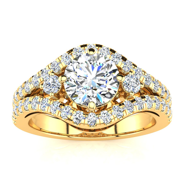 14K Yellow Gold 2 Carat Fancy Diamond Engagement Ring, With 1.25 Carat Center