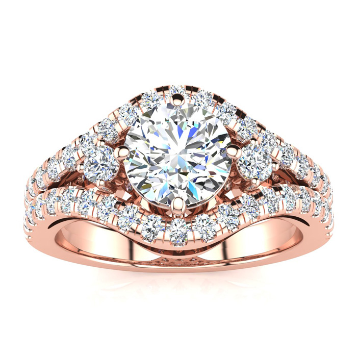 14K Rose Gold 2 Carat Fancy Diamond Engagement Ring, With 1.25 Carat Center