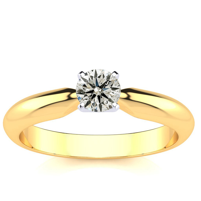 1/3ct Diamond Solitaire Engagement Ring in 14k YELLOW GOLD