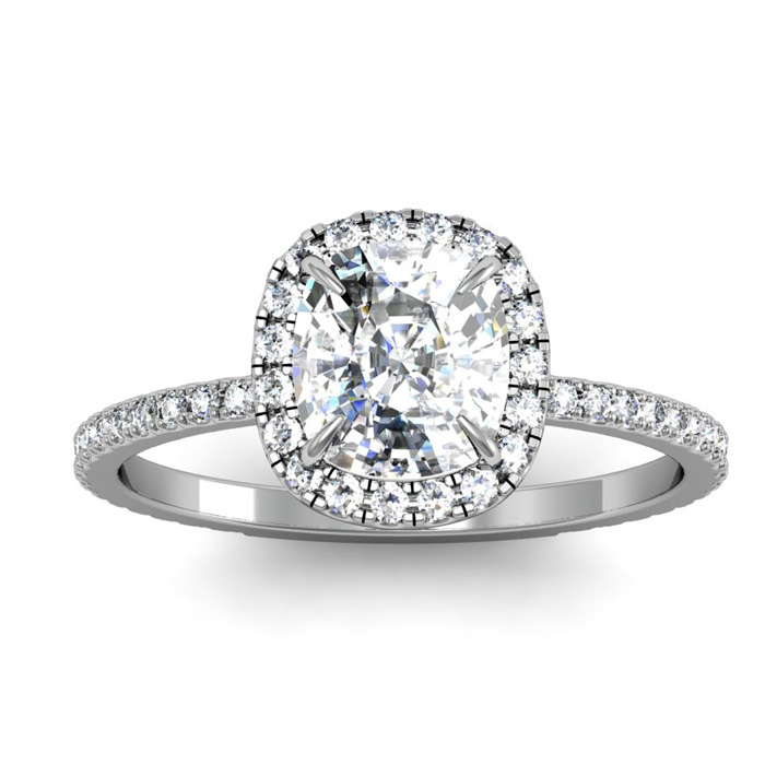2 1/2 Carat Cushion Cut Halo Diamond Engagement Ring In 14 Karat White Gold