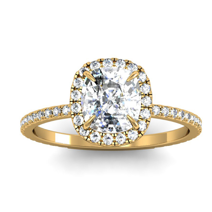 2 1/2 Carat Cushion Cut Halo Diamond Engagement Ring In 14 Karat Yellow Gold