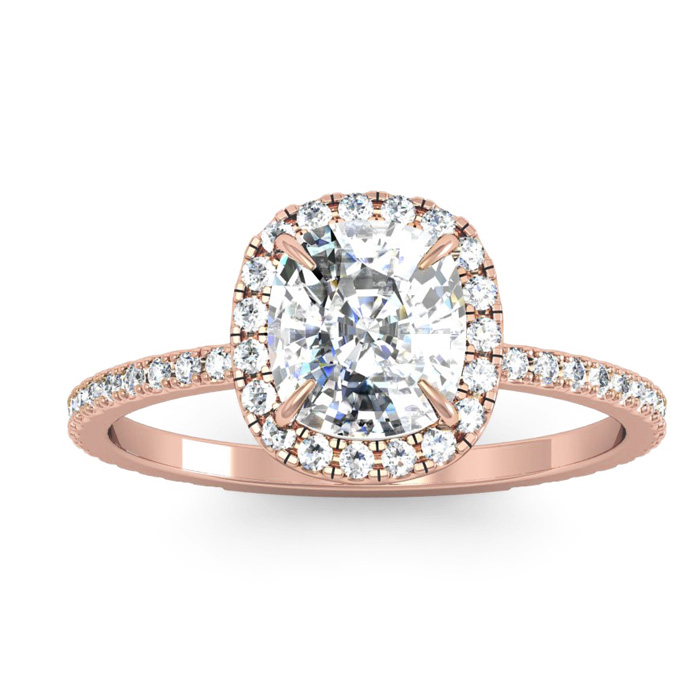 2 1/2 Carat Cushion Cut Halo Diamond Engagement Ring In 14 Karat Rose Gold