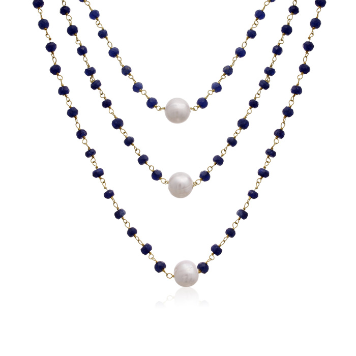jewelpearl.com 41 Carat Blue Sapphire and Pearl Triple Strand Necklace In 14K Yellow Gold, 20 Inches