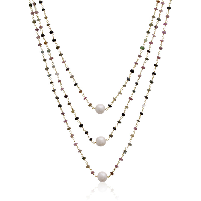 41 Carat Pink Tourmaline and Pearl Triple Strand Necklace In 14K Yellow Gold, 20 Inches