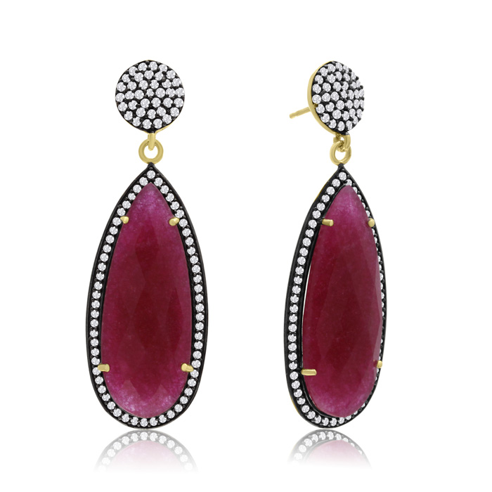 32 Carat Pear Shape Ruby And Simulated Diamond Dangle Earrings In 14k Yellow Gold