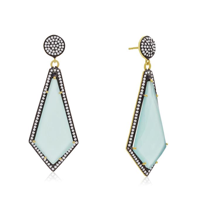 45 Carat Diamond Shape Green Chalcedony and Simulated Diamond Dangle Earring..