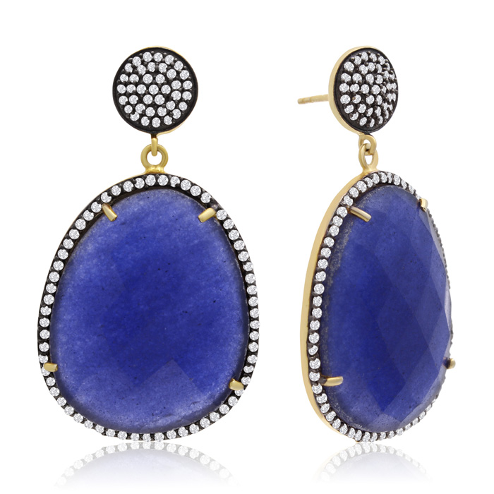 86 Carat Free Form Blue Sapphire And Simulated Diamond Dangle Earrings In 14k Yellow Gold