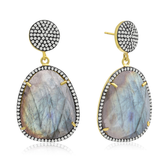 86 Carat Free Form Labradorite and Simulated Diamond Dangle Earrings In 14K ..