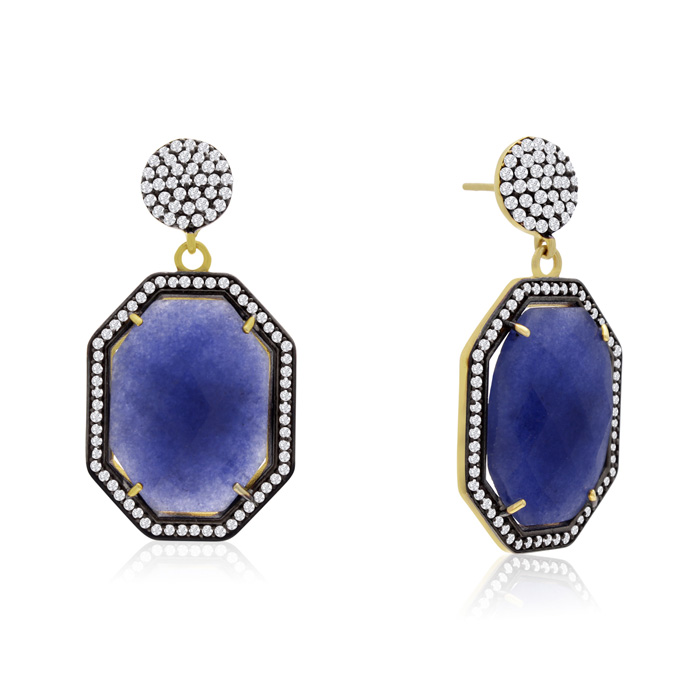 79 Carat Octagon Shape Blue Sapphire and Simulated Diamond Dangle Earrings I..