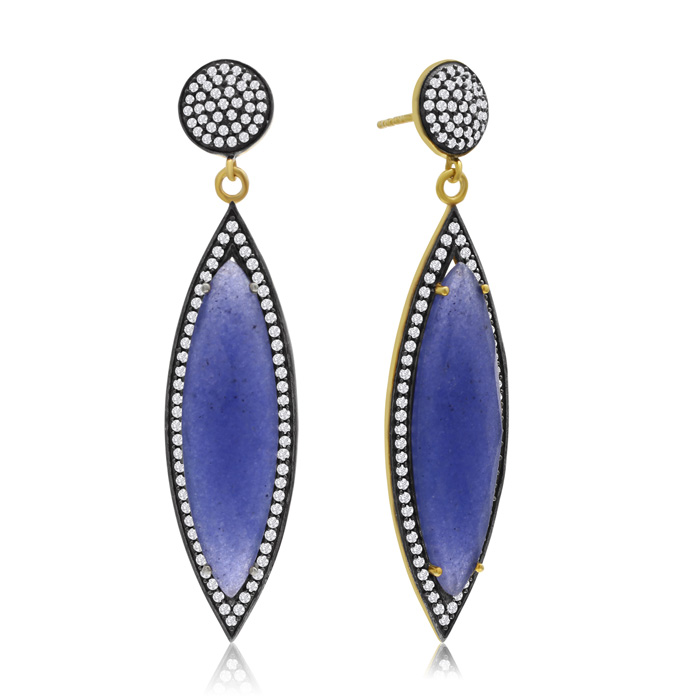 56 Carat Marquise Shape Blue Sapphire and Simulated Diamond Dangle Earrings ..