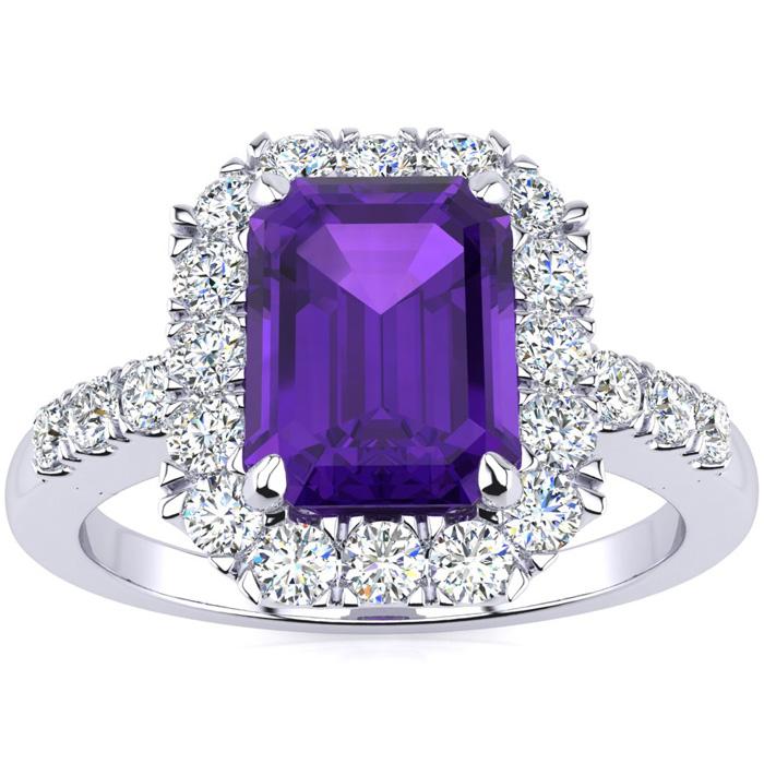 2 Carat Emerald Cut Amethyst And Halo Diamond Ring In 14 Karat White Gold