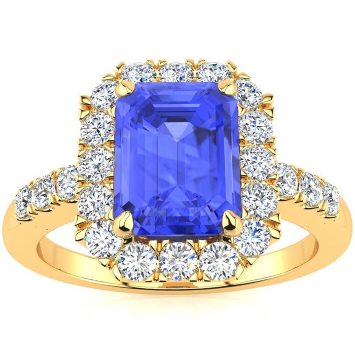 2 1/4 Carat Emerald Cut Tanzanite And Halo Diamond Ring In 14 Karat Yellow Gold