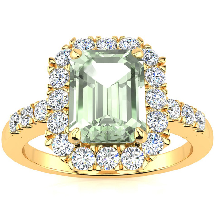 2 Carat Emerald Cut Green Amethyst and Halo Diamond Ring In 14 Karat Yellow ..