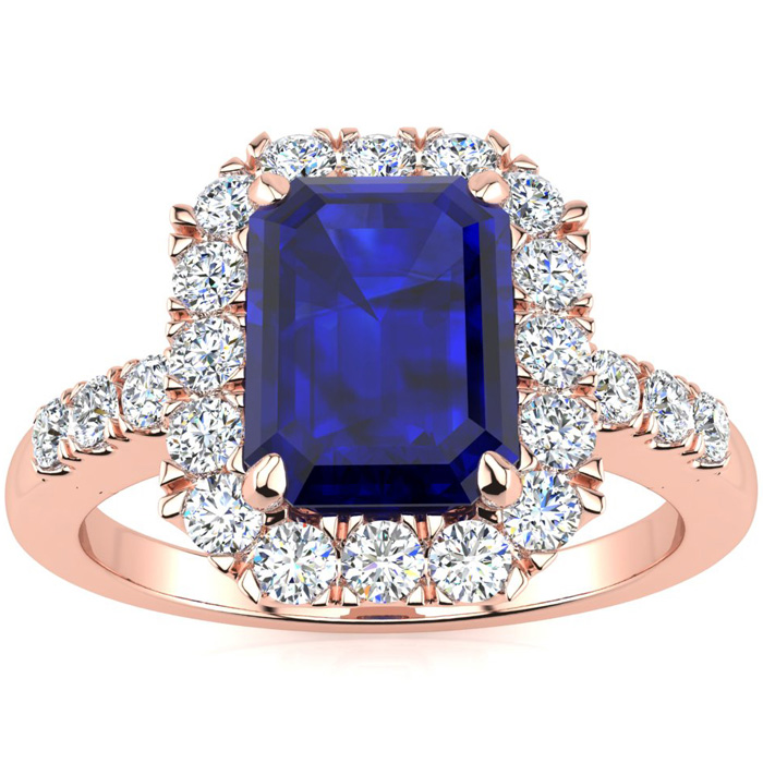 2 3/4 Carat Emerald Cut Sapphire And Halo Diamond Ring In 14 Karat Rose Gold