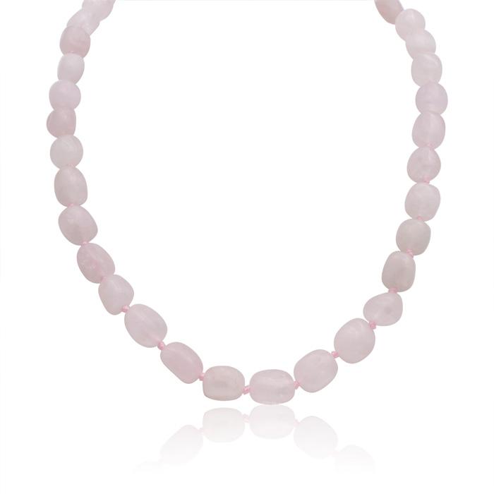 30 Carat Natural Rose Quartz Beaded Necklace, 18 Inches
