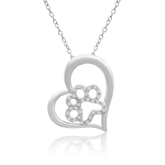 AspcaTender VoicesSterling Silver Diamond Paw In Tilted Heart Necklace 1/6cttw