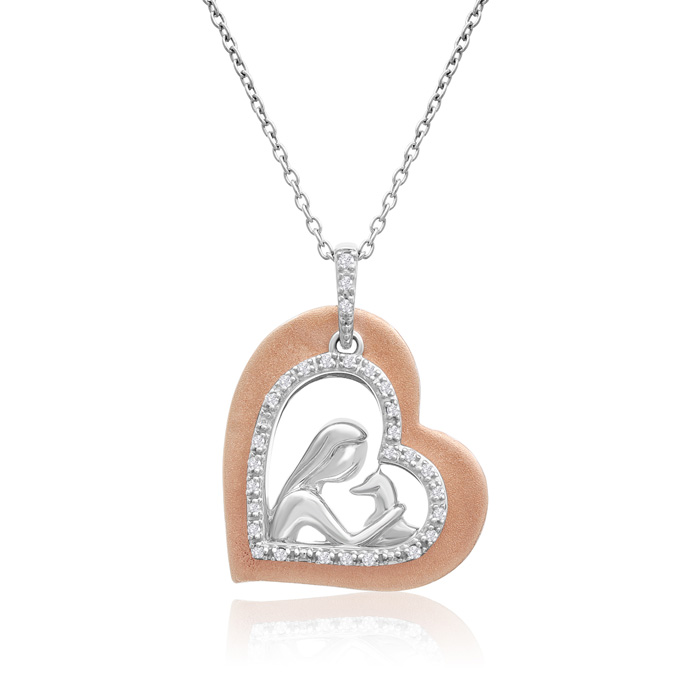 AspcaTender Voices10k Rose Gold And Sterling Silver Diamond Animal Love Necklace 1/10cttw