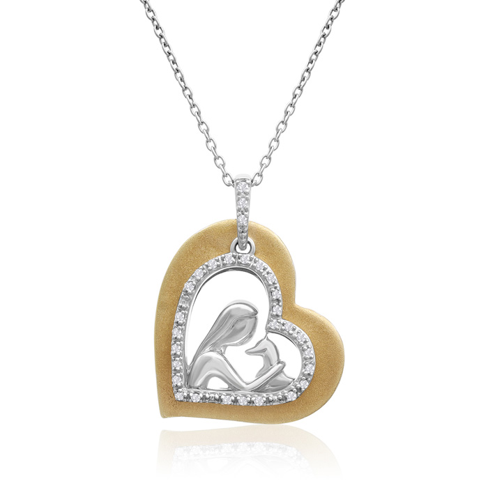 AspcaTender Voices10k Yellow Gold And Sterling Silver Diamond Animal Love Necklace 1/10cttw