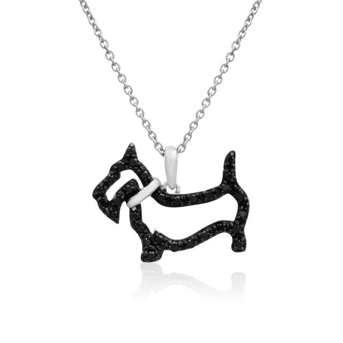 AspcaTender VoicesSterling Silver Black Diamond Scottish Terrier Dog Necklace 1/3cttw